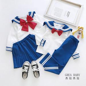crianças de varejo de luxo designer de roupas meninos meninas bonitas do estilo big etiqueta arco fatos de treino 2pcs ternos set (+ saia calça tshirt) roupas de bebê treino
