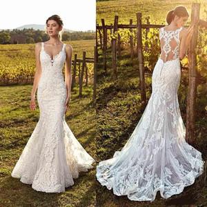 2019 Eddy K Country Mermaid Wedding Dresses Ivory Sweetheart Lace Sweep Train Vestidos de novia Tallas grandes Playa Boho Vestido De Novia