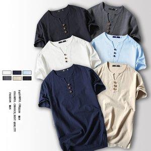 2020 summer men's T-shirt Japanese men's thin linen short-sleeved casual cotton T-shirt bottoming shirt
