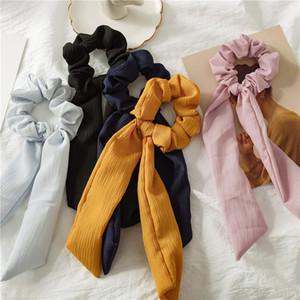 Bandas Cabelo cor sólida Vintage Scrunchies Mulheres acessórios para o cabelo Ties Scrunchie rabo de cavalo Rope Titular Rubber Big Long Bow