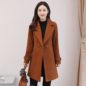 New Warm Long Wool Blend Ladies Coat Double Breasted Solid Women's Jacket Pockets Slim Korean Womens Fashion Coat