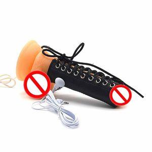 Male Electrostim Penis Sleeve Leather Chastity Belt Penis BDSM Bondage Gear Fetish Electro Sex Toy Electrical Shock Penis Ring Punishment