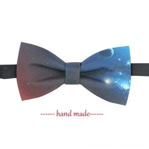Fashion Galaxy Necktie Bow Mens Womens Wedding Business Hand Made Galaxy Bow Tie Trendy High Quality Bowtie Neck Tie Set Ties