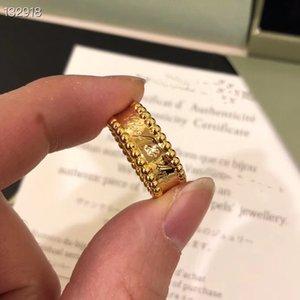 Lusso Perlee marca rame Designer con oro 14k ha placcato Logo inciso US 6-8 Ampia dei monili per le donne