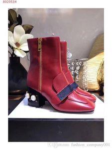 Brand Personality design boots Fashion casual temperament elegant genuine leather pearl decoration high heel women fashion martin Boots