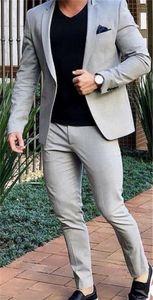 Grey Casual Street Men Suit for Wedding Suit Men Blazer Coat Jacket Party Prom Slim Fit Tuxedo Suit with Pants Custom Made