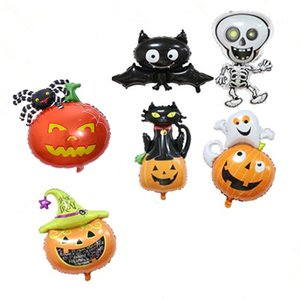 50 pcs set Halloween Balloons Bat Cat Skeleton Pumpkin Spider Jumbie Halloween Decoration Foil Balloon Inflatable Toy Party Supplies JK1909