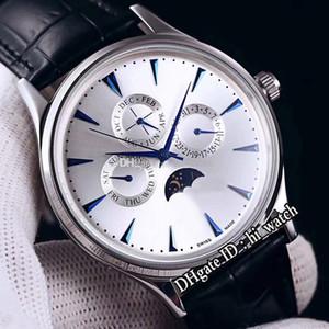 Nouveau Master Control Q149342 Daydate Moon Phase automatique Hommes de montre en acier cadran argenté Marqueurs bleu bâton en cuir noir Hi_Watch E131c3