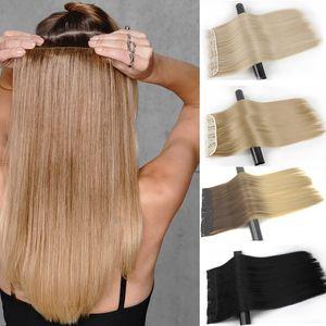 Sentetik Clip-in Extensions Uzantıları Yanlış Siyah Saç In Merisi 5 Klipler Sentetik Uzun Düz Clip (Beyaz için)
