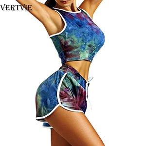 Tie Dye Suit Women Sport Suit 2 Piece Yoga Set Sleeveless Top Biker Shorts Workout Tracksuit Summer Ladies Gym Running Suits New