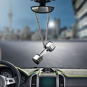 Pingente de carro Criativo Auto espelho retrovisor decorativa AlloyDomineering Dumbbell Car Acessórios Interior Hanging