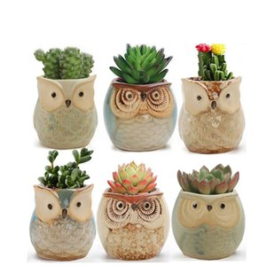 Owl Shaped Flowerpots Succulents Colorful Ceramic Pots Desktop Pots Mini Flower Pots Home Garden Decoration Gardening Tool YFA2068