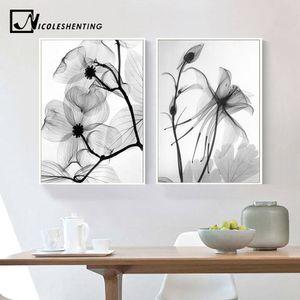 Nordic Black White Abstract Planta lona flor Posters Pintura de tela impressões minimalista Wall Art decorativa Imagem Home Decor