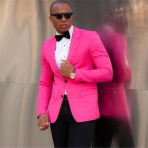 Neue 2 Stücke (Jacke + Hose + Fliege) Slim Fit Bräutigam Smoking Beste Männer Hochzeitsgesellschaft Pink Herrenanzug Prom Anzüge Custom Made Blazer