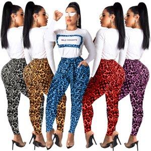 Леопардовый женщин Осень Desinger 2PCS Pecil Брюки Sexy Style Женский Одежда Письмо Цветочные печати Fahion Повседневная одежда