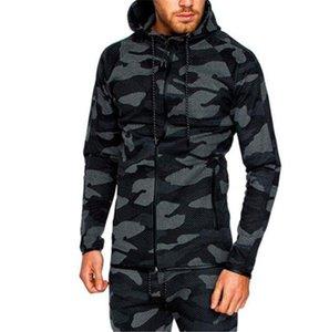 Contrast Color Plus Sizen Men Camouflage Coat Sportswear Sports Fitness Long Sleeve Hooded Mens Sweatshirts With Zipper
