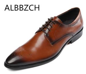 Роскошные Дерби Резьба Натуральная Кожа Drees Мужская Обувь Trend Свадебная Обувь мужская Бизнес Работа Острым Носом Шнурки Удобно