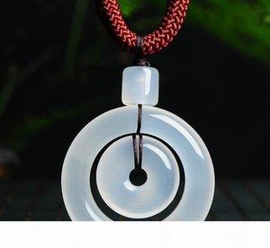 glace naturelle par anneau de moelle osseuse blanche de jade boucle sécurité anneau mère pendentif de jade pendentif hommes et la chaîne des femmes