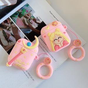 3D Kawaii Airpods Fall für Apple Airpods Bluetooth Kopfhörer-Schutz-Abdeckung Art und Weise für Luft Pods Airpod Netter rosa Kopfhörer Silikon-Kasten