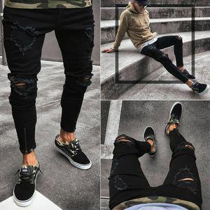Homens rasgadas Calças Jeans Slim Fit Jeans Destruído desgastadas Calças Moda Hip Hop Casual Zipper Buraco Ankle Comprimento Pants Pencil