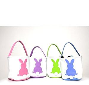 Easter Basket Rabbit Printed Easter Bunny Gift Bags Bunny Tail Tote Handbags Canvas linen Buckets Cartoon Storage Baskets GGA3192-1