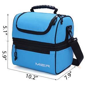 MIER Adult Lunch Box Bolsa de almuerzo aislada, bolsa de asas grande para hombres, mujeres, refrigerador doble cubierta (Negro)