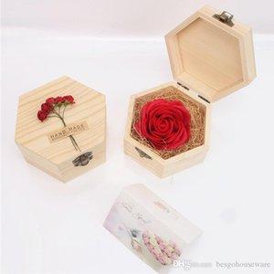 Dia dos Namorados Presentes Adorável Soap Flores Rose presente Hexagon Gift Box Handmade Wood Carving Festival aniversário Caixa Atual BC BH0927