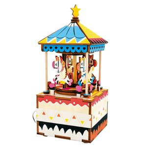 3D Rolife Carousel Music Box Wooden Puzzle Merry-Go-Round Handmade Gift Girls Home Decoration