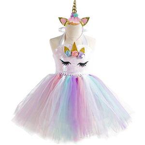 New Unicorn Girls Dresses kids boutique Princess Dresses sequin Birthday Party Tutu Dresses+Unicorn headband 2pcs kids clothes A3768