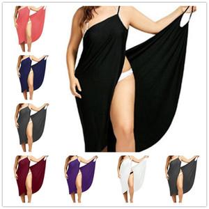 das mulheres Verão Bikini Cover Up Vestido Envelope longo Plus Size Sexy Backless Deslize Vestidos Gallus Vestido Beachwear Beach Party Maxi vestidos E3206