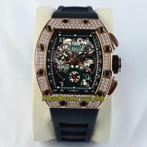 Alta Qualidade RM 011-FM esqueleto Big Data Dial asiáticos 2813 Relógios de luxo Automatic Mens RM011 Assista Rose Gold Diamante Strap Caso de borracha do esporte