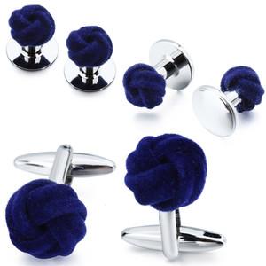 HAWSON Men's Tuxedo Shirt Jewelry Cufflink Stud Set Fashion Blue&Purple Silk Knot Cuff Links Button Come With Box SH190925