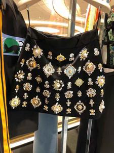 cristallo patchwork di lusso vita alta strass perline gemma 2019 le donne del nuovo stile regale a-line gonna corta più il formato S M L XL