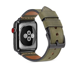 Smart Watch Band Crazy Horse Pattern Strap For Apple Watch4 3 2 1Casual Men Black Metal Buckle For Iwatch 5 Series44 42 40 38mm