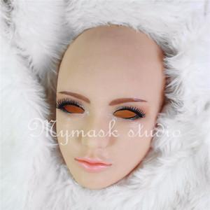 Top Grau Hot !!! Máscara Feminina Realista Para O Dia Das Bruxas Humano Feminino Masquerade Máscara Do Partido Do Látex Sexy Girl Traje Crossdress Cosplay Máscara