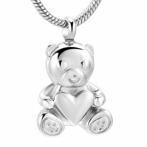 ZZL067 Pet Memoria Schmuck Für Asche - Bär Halten Herz Edelstahl Andenken Urne Anhänger Für Frauen Männer Feuerbestattung Halskette