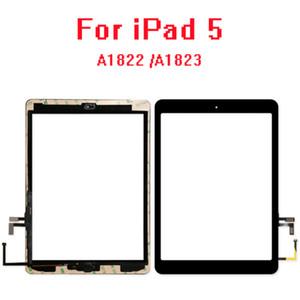 10pcs para el iPad de Apple 5 (2017) A1822 A1823 pantalla táctil digitalizador Panel + botón casero + Tesa Tape + reemplazo del soporte