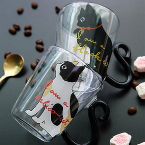 8.5 oz Bonito Criativo Caneca De Café Leite Leite Caneca De Vidro De Água Copo De Chá Xícara De Chá Dos Desenhos Animados Kitty Home Office Cup Para Suco De Frutas