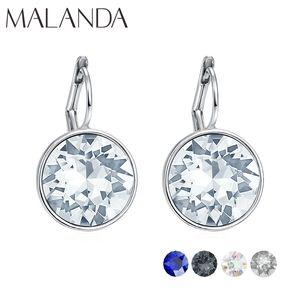 Malanda Marque cristal coloré ronde Bella Boucles d'oreilles pour femmes cristaux De mariage mode bijoux boucles d'oreilles Nouveau