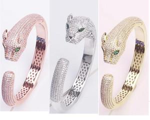 Ньюк тавро ювелирных изделий Lady Brass Полных Алмазные Зеленые глаза леопард 18K Gold Wedding Engagement браслет браслеты 3 Цвет