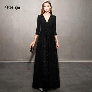 weiyin Abiti 2019 Nero sera elegante del merletto da sera lungo abito formale stili del partito di promenade delle donne da WY1248