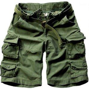 Pantaloni corti con tasche maschile Abbigliamento allentato solido Mens di colore Cargo Shorts Casual Moda Uomo