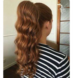 Las mujeres HairPiece cola de caballo ondulado Blonde 27 # Color Extensiones de cabello humano 20 pulgadas 100g-140g Blonde 27 # Colores disponibles