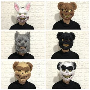 Bloody Bunny Mask Masquerade Horror Scary Halloween toys Funny Gadgets Squishy Horror Gag Gifts Funny Bachelor Party Hot prank T200703