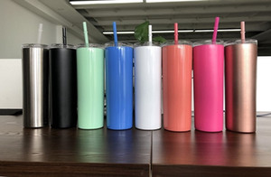 20온스 스테인레스 스틸 스키니 텀블러 다채로운 빨 절연 맥주 커피 머그컵 뚜껑과 빨대 무료 배송 스트레이트 물 컵 진공