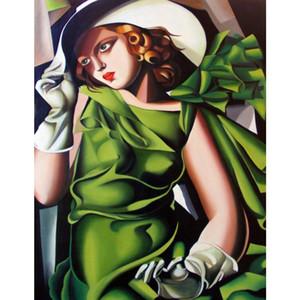 고품질 Tamara de lempicka 그림 장갑에 녹색 소녀 현대 미술 손으로 그린