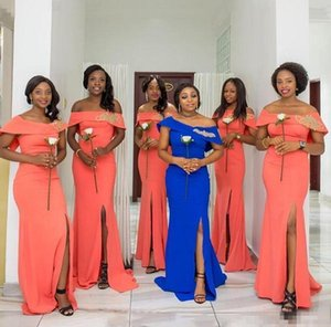 Coral African Mermaid Bridesmaids Dresses Long Bateau Cap Sleeveless Slim African wedding Guest Dress Split Side Maid Of Honor Dress Gowns