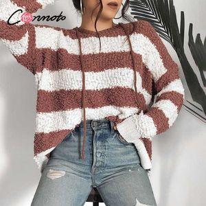 Conmoto autumn winter 2020 stripe sweater pullover women fleece streetwear oversize harajuku casual sweatshirt hoodies