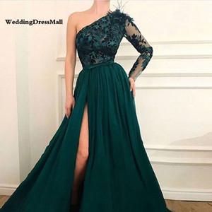 Линии, одно плечо Тюль Пром платья Зеленый Дубай Arab Вечерние платья Длинные платья выпускного вечера официально платье Robe De soirée с слите