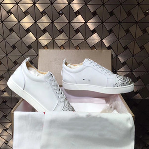 White Leather With Strass Junior Low Top Red Bottom Shoes For Men,Women Name Brand Couple Skateboard Crystal Party Dress EU35-47
